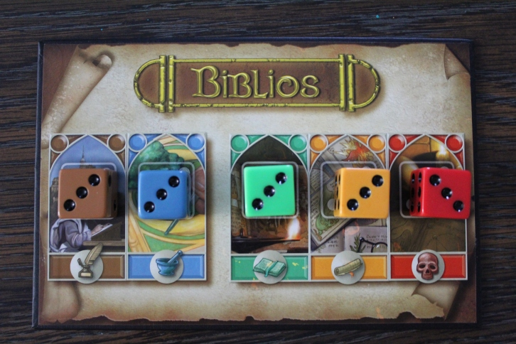 Another image of the components in Biblios the board game